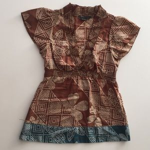 BCBG brown printed silk top - Size XS
